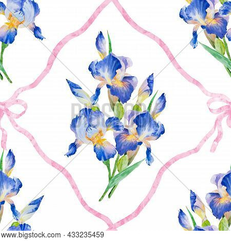 Watercolor Hand Paint Iris Flower, Seamless Pattern. Beautiful Iris Flowers And Leaves On White Back