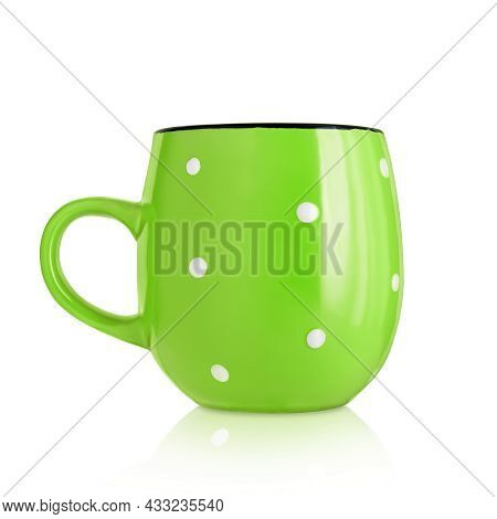 Ceramic Cup. Ceramic Mug With Pattern Isolated On White Background. Cup With A Handle. Green Mug. Di