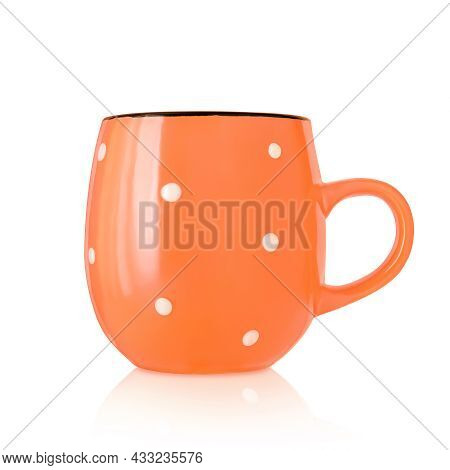 Ceramic Cup. Ceramic Mug With Pattern Isolated On White Background. Cup With A Handle. Orange Mug. D