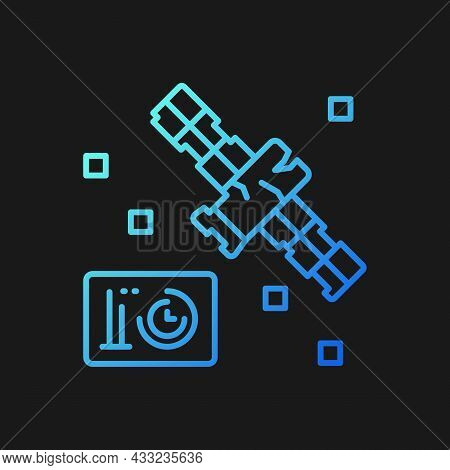 Satellite Condition Gradient Vector Icon For Dark Theme. Artifial Satelite Breakdown In Outer Space