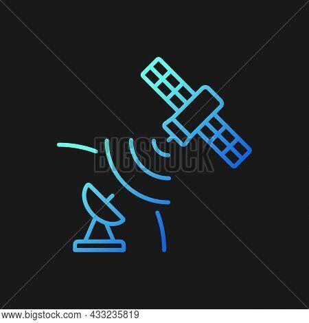 Satellite Signal Gradient Vector Icon For Dark Theme. Signal Receiving Dish Satelite. Telecommunicat
