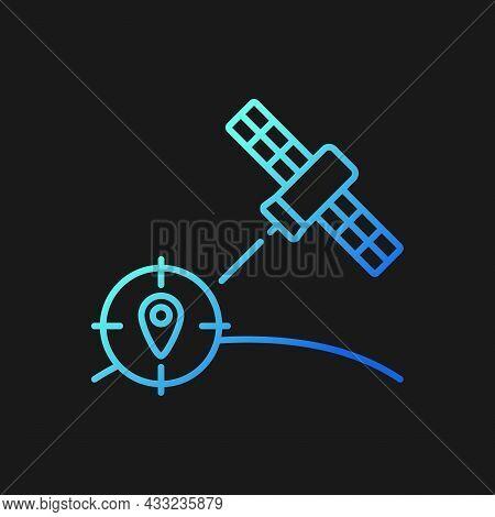Navigation Satellite Gradient Vector Icon For Dark Theme. Artificial Satellite-based Radionavigation