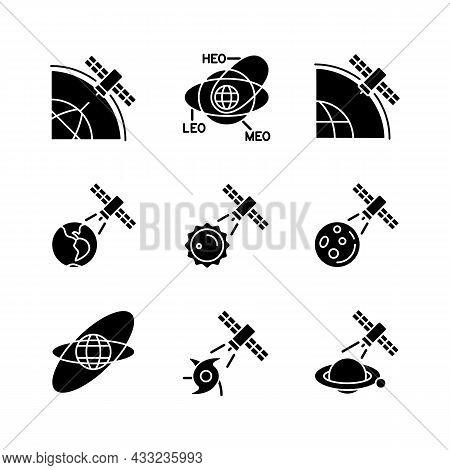 Satellites Functions Black Glyph Icons Set On White Space. Satellite Orbits, Trajectories. Global Te