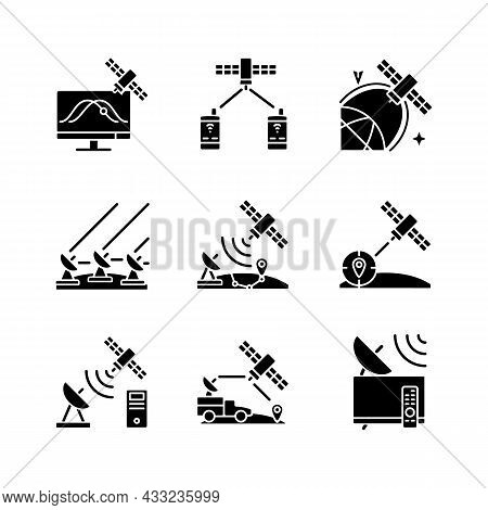 Artificial Satellites Black Glyph Icons Set On White Space. Satellite Tracking, Navigation, Position