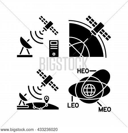 Satellite Radionavigation Black Glyph Icons Set On White Space. Satellite Orbits, Trajectories. Tran