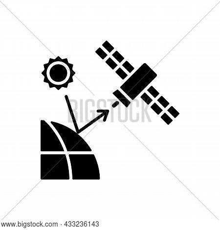 Remote Sensing Satellite Black Glyph Icon. Digital Earth Conceptualization. Planet Replica Creating.