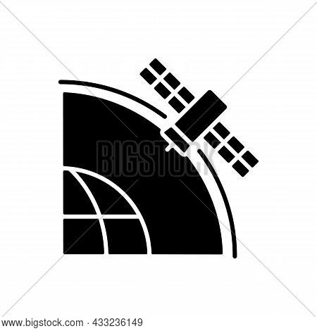 Geostationary Satellite Black Glyph Icon. Rotation Of Celestial Bodies In Geostationary Orbit. Satel