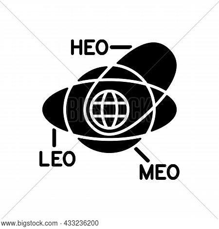 Geocentric Orbit Type Satellites Black Glyph Icon. Rotation Of Celestial Bodies In Geostationary Orb