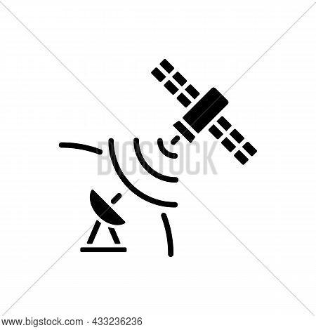 Satellite Signal Black Glyph Icon. Signal Receiving Dish Satelite. Global Telecommunications Network