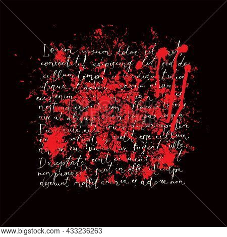 Abstract Vector Banner With Handwritten Text Lorem Ipsum, Red Spots And Drips On A Black Background.
