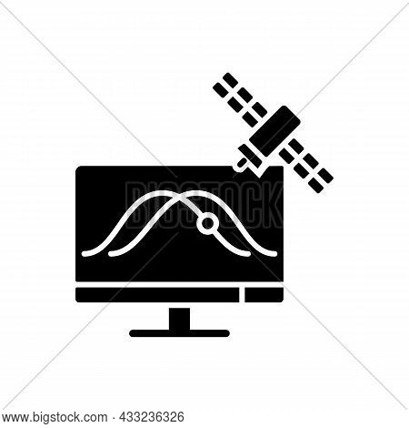 Satellite Tracking Black Glyph Icon. Artificial Satelites Orbits Observation, Positioning Through Sp