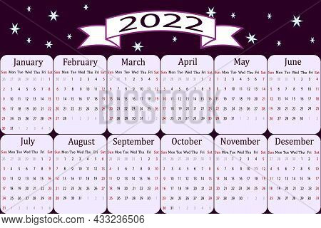 Calendar For The New Year 2022.vector Illustration With English Calendar For 2022. Great For Printin