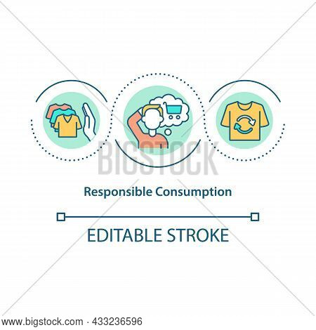 Responsible Consumption Concept Icon. Sustainable Consumption And Production. Stop Overbuying Abstra