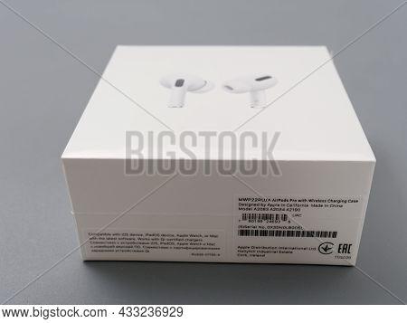 Gomel, Belarus - September 17, 2021: Compact In-ear Headphones In Apple Packaging