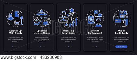 Consumerism Motivation Dark Onboarding Mobile App Page Screen. Buying Walkthrough 5 Steps Graphic In