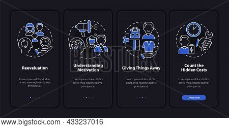 Challenging Consumerism Dark Onboarding Mobile App Page Screen. Purchasing Walkthrough 4 Steps Graph