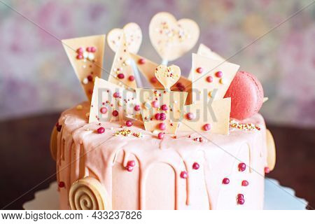 Beautiful Pink Cake For Childrens And Teens Birthday, Valentines Day.