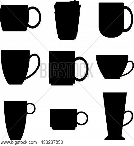 A Set Of Black Silhouettes Of Tea And Coffee Cups On A White Background. Collection Of Coffee Cup An