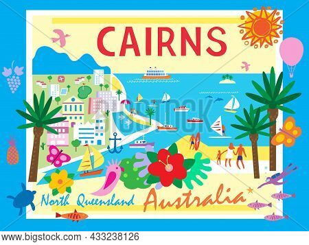 A Vector Illustration Of Cairns, Norh Queensland, Australia. Illustrated In A Graphic Cartoon Style.