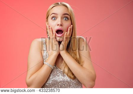 Shocked Speechless Concerned Young Stunned Woman Gasping Screaming Worried Drop Jaw Touch Cheeks Wid