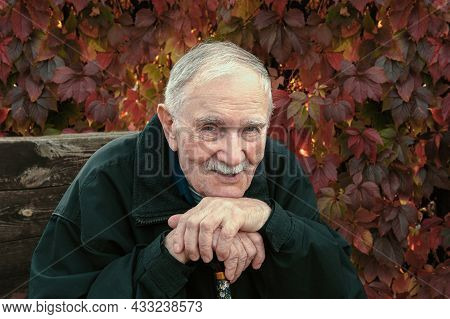 Handsome, Good-natured Man Of 88 Years. Portrait Of An Old Gray-haired Man In Autumn. Gray-haired Ma
