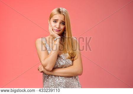 Girl Feeling Pity Empathy Friend Telling Sad Story. Attractive Stylish Glamour Girl Feel Boredom Dat