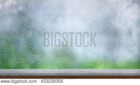 The Marble Tabletop On A Blur Window Background With Smoke Float Up With Rain , Can Be Used For Disp