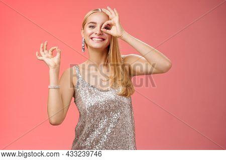Charming Funny Tender Feminine Blond Girlfriend Dancing Having Fun Enjoying Perfect Party Smiling Br