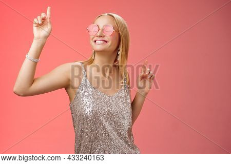 Delighted Carefree Attractive Stylish Millennial Blond Woman Celebrating Partying Having Fun Wear Su