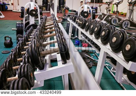 Dumbbells In The Gym. Sports Dumbbells In In A Rack In Sports Club