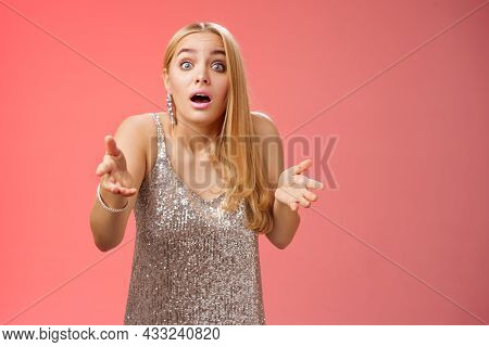 Impressed Overwhelmed Blond Woman Retelling Exciting Story Gesturing Astonished Widen Eyes Shrugging
