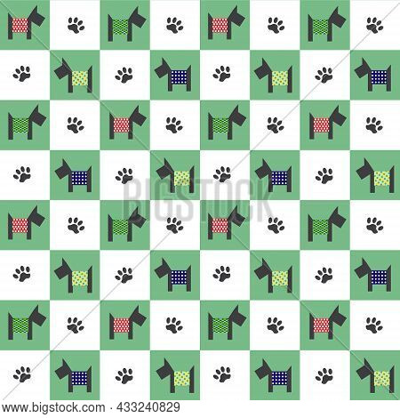 Pattern With Dogs In Patchwork Style. Spitz, Colored Squares And Animal Footprints. Vector Illustrat