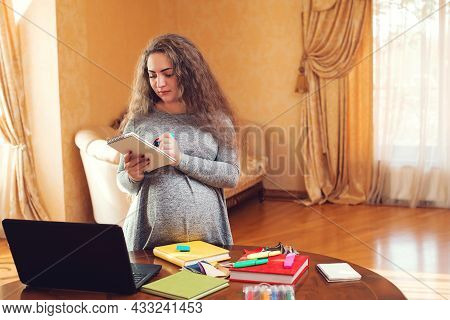 Pregnant Business Woman Using A Laptop And Working At Home. Woman Doing Shopping Online. Pregnancy,