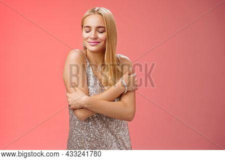 Tender Feminine Elegant Blond Young Woman In Stylish Silver Glittering Dress Close Eyes Dreamy Smili