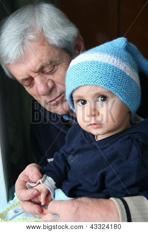 boy and his grand father,portrait