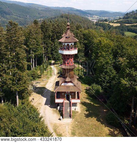 Jurkovičova Lookout Tower In Beskydy. Landscape Photo From Drone.