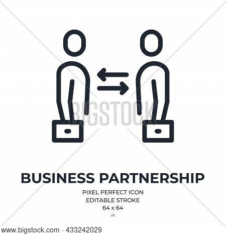 Synergy And Partnership Concept Editable Stroke Outline Icon Isolated On White Background Flat Vecto