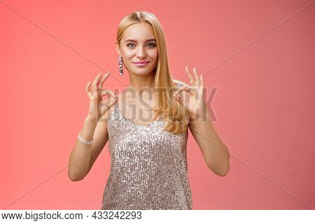 Confident Carefree Optimistic Young Blond Woman Assure Everything Done Perfect Liking Result Show Ok
