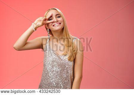 Optimistic Lucky Elegant European Blond Young 25s Wife In Silver Glittering Dress Having Fun Enjoyin