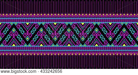 Magenta Turquoise Tribe Or Native Seamless Pattern On Black Background In Symmetry Rhombus Geometric