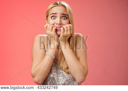 Frightened Afraid Panicking Young Cute Blond Woman Biting Nails Pop Eyes Scared Camera Look Terrifie