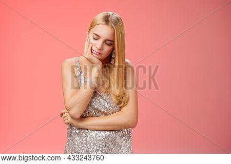 Bored Sleepy Party Girl Blond Hairstyle In Silver Evening Dress Tired Nightclub Lean Head Palm Sleep