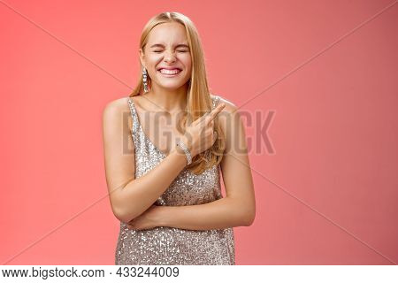 Attractive Excited Happy Charming Blond Girl Attend Luxurious Party See Famous Person Feel Lucky Amu