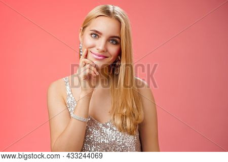 Tender Feminine Glamour Young Lady In Silver Glittering Dress Accessorize Touching Cheek Flirty Look