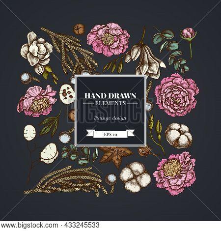 Square Floral Design On Dark Background With Ficus, Eucalyptus, Peony, Cotton, Freesia, Brunia Stock