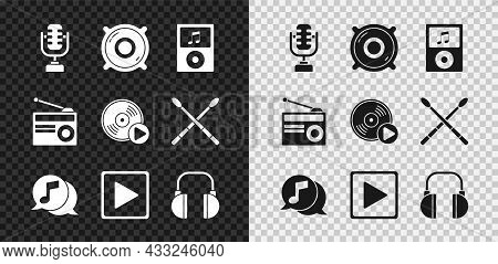 Set Microphone, Stereo Speaker, Music Player, Musical Note In Speech Bubble, Play Square, Headphones