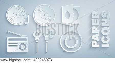 Set Air Headphones, Vinyl Player With Vinyl Disk, Radio Antenna, Power Button, And Icon. Vector
