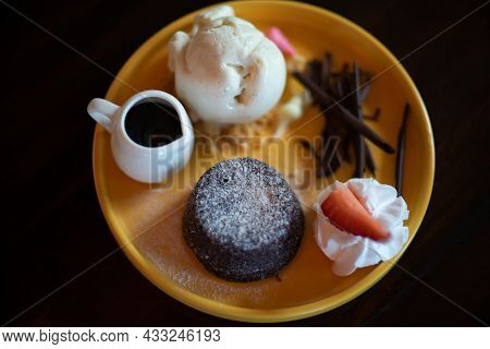 Chocolate Lava And Icecream Sweet Product On Table