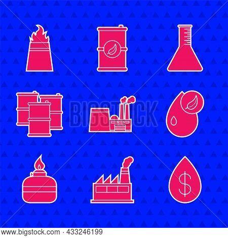 Set Oil Industrial Factory Building, Drop With Dollar, Bio Fuel, Alcohol Spirit Burner, Barrel Oil,