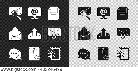 Set Envelope With Magnifying Glass, Mail And E-mail On Speech Bubble, Document Pen, Speech Chat, Pos